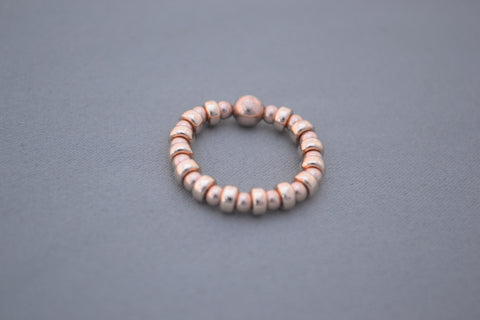 Rose Gold disc and Rose Gold bead ring