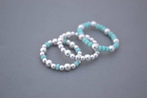 Sterling Silver and tiffany blue round bead stacking rings - set of three