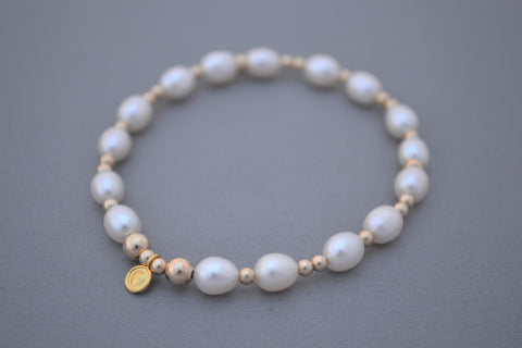 Freshwater Pearl and 24k Gold bead bracelet