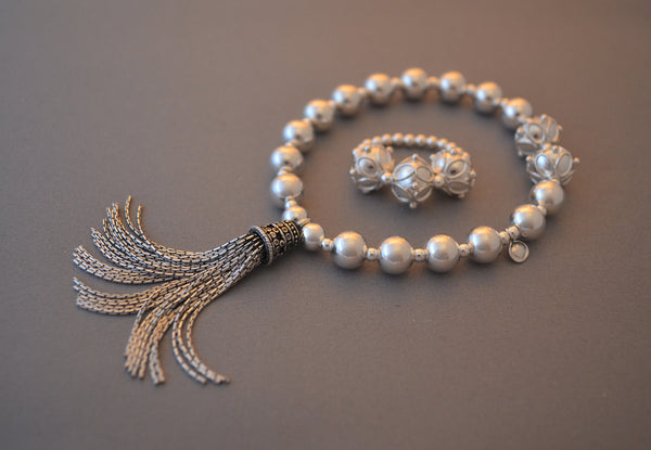 Sterling Silver large bead bracelet with Bali tassel charm and ornate beads