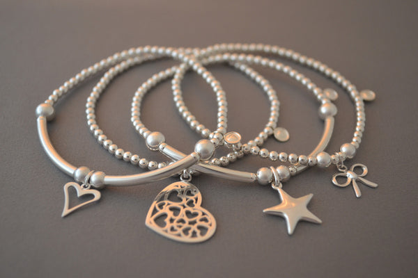 Sterling Silver bracelet stack - set of four bracelets with hearts, star, bow charms