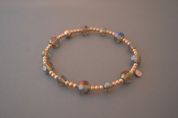 Rose Gold bead bracelet with smokey glass beads