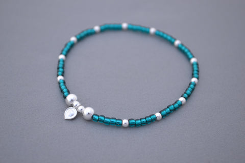 Dark Turquoise glass seed and Sterling Silver mix bead bracelet