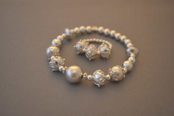 Sterling Silver large bead bracelet with ornate Sterling Silver Bali beads