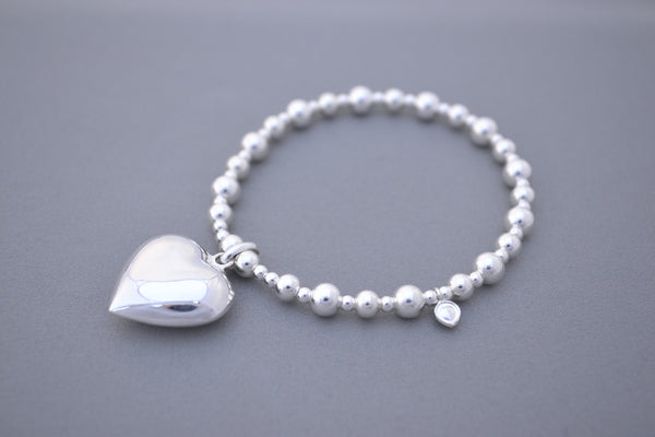 925 Sterling Silver bead handmade bracelet with large heart charm