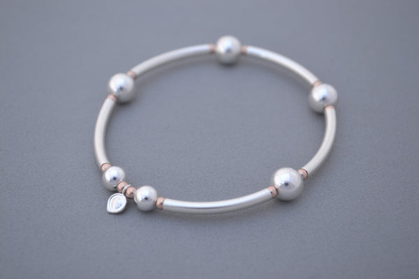 925 Sterling Silver noodle and Rose Gold mix bead handmade bracelet