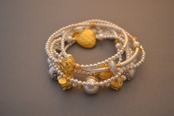 Limited Edition Sterling Silver bracelet stack - set of four bead bracelets with 24k Gold charms