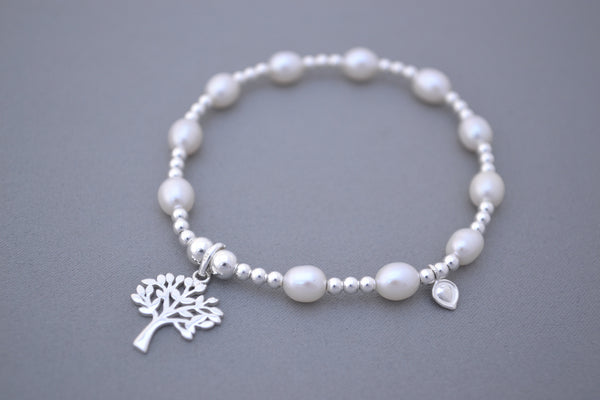 Freshwater Pearl and Sterling Silver mix bead handmade bracelet with Tree of Life charm