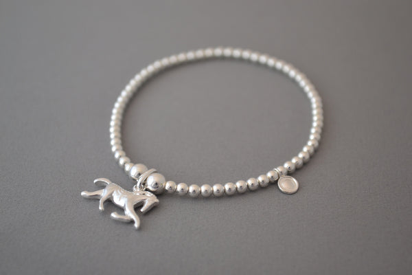 Sterling Silver Adult's bead bracelet with horse charm