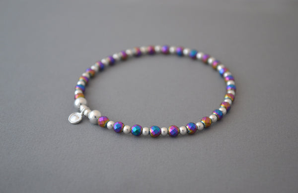 Rainbow and Sterling Silver mix bead bracelet