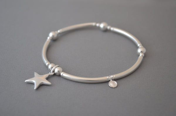 Sterling Silver noodle and bead bracelet with sterling silver flat star charm