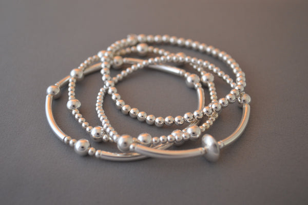 Limited Edition Sterling Silver bracelet stack - set of four round bead and noodle bracelets