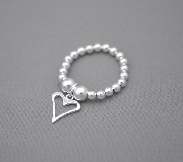 Sterling Silver bead ring with flat heart charm