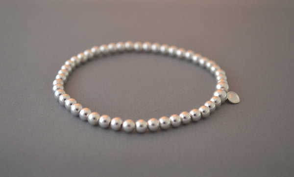 Sterling Silver 4mm round bead bracelet