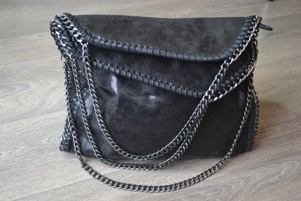 Chain detail shoulder Large tote bag - Black