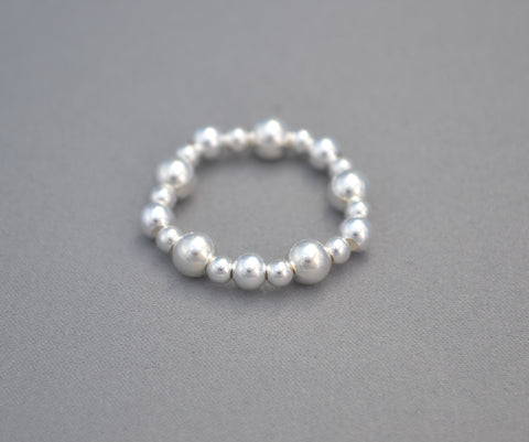 Sterling Silver mixed bead ring