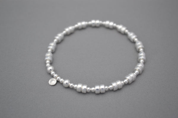 Sterling Silver ball and disc bead bracelet