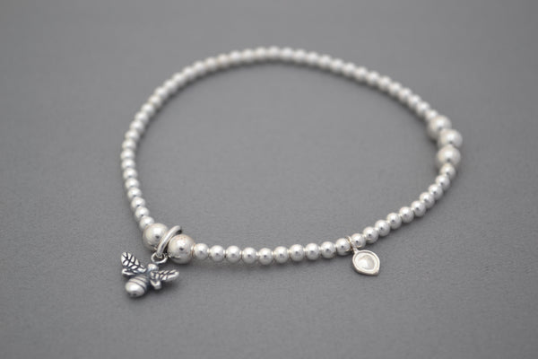 Sterling Silver Manchester 'One Love' bead bracelet with Bee charm