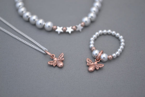 Sterling Silver chain with Rose Gold 'bee' charm