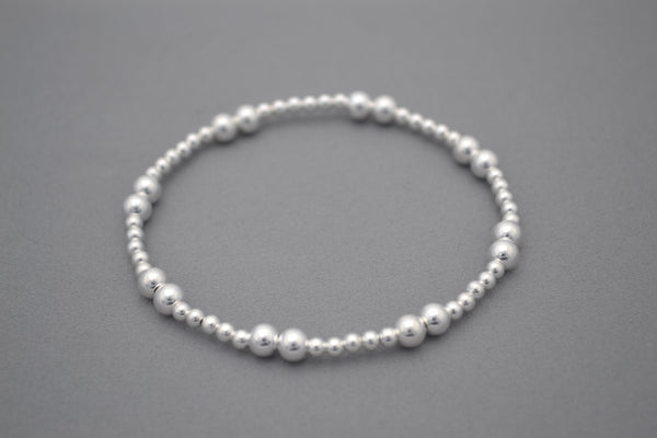 Sterling Silver 5mm and 3mm mixed bead bracelet