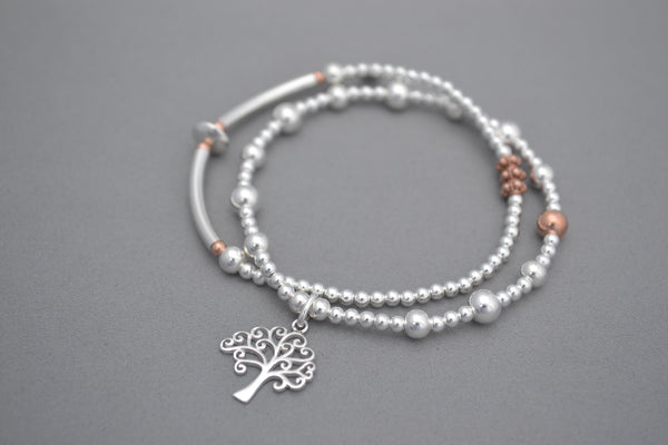 Sterling Silver double bracelet 3mm bead and half noodle with Rose Gold details, Sterling Silver Tree of Life charm