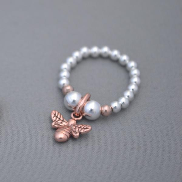 Sterling Silver and Rose Gold 3mm bead ring with Rose Gold bee charm
