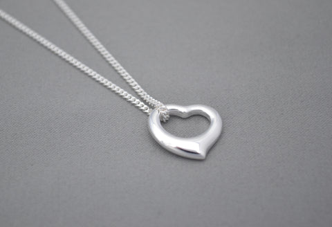 Sterling Silver chain with Sterling Silver 'tiffany' open heart charm