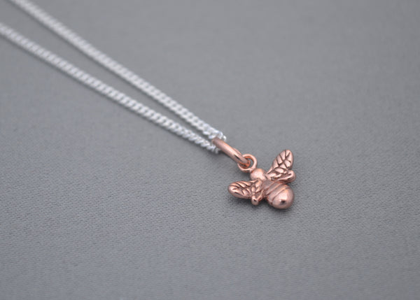 Sterling Silver chain with Rose Gold Bee charm