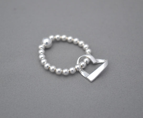 Sterling Silver mix bead ring with elegant open heart charm