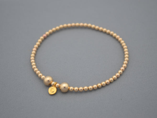 24k Gold 3mm and 5mm handmade mixed bead bracelet