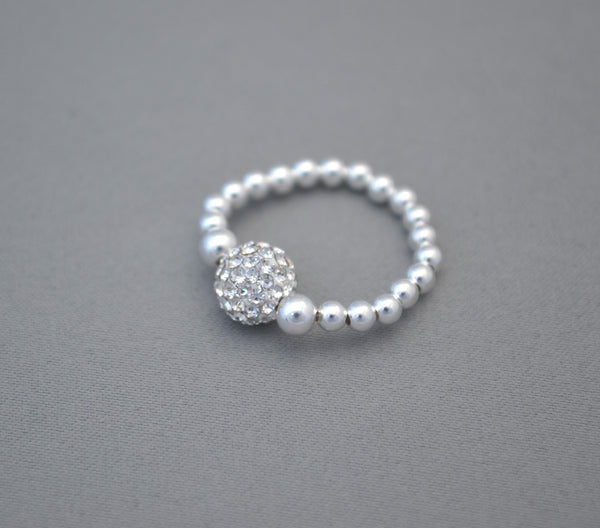 Sterling Silver bead ring with glitter disco ball charm