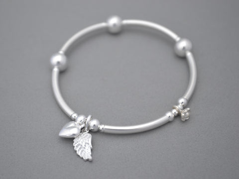 Sterling Silver noodle and bead bracelet with Angel wing and puff heart charms