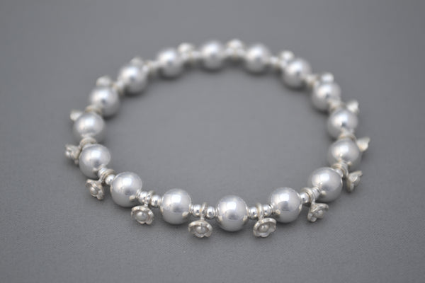 Sterling Silver 8mm large bead bracelet with ornate Sterling Silver Bali daisy beads