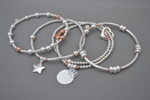 Limited Edition Sterling Silver and Rose Gold bracelet stack - set of four noodle and bead bracelets with Family Tree of Life and puff star charms