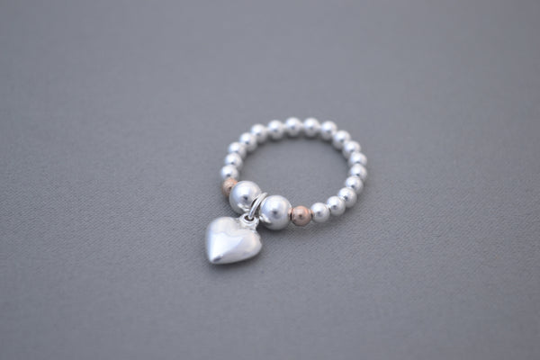 Sterling Silver and Rose Gold handmade bead ring with 925 Sterling silver puff heart charm