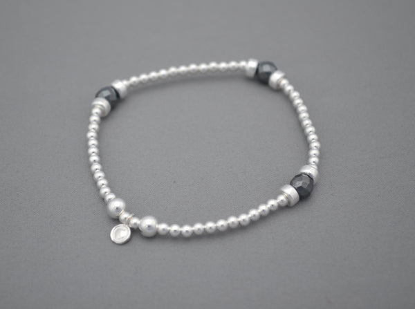 Sterling Silver disc and Metallic mixed bead handmade bracelet