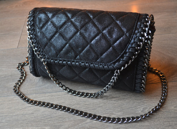 Quilted Clutch / Shoulder Chain bag - Black