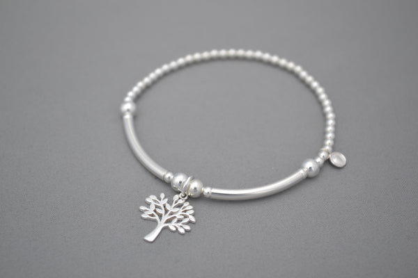 Limited Edition Tree of Life Sterling Silver half noodle and bead bracelet