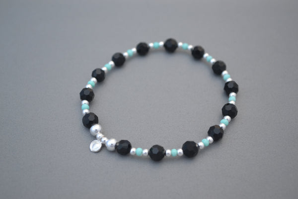 Sterling Silver and Black faceted mixed bead bracelet with colour accents