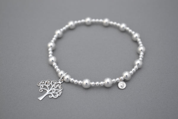 Limited Edition Tree of Life Sterling Silver mixed ball bead bracelet