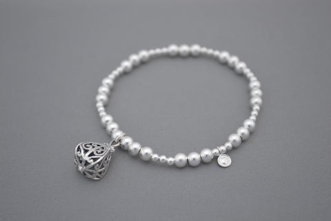 Sterling Silver Bracelet with ornate Bali Charm