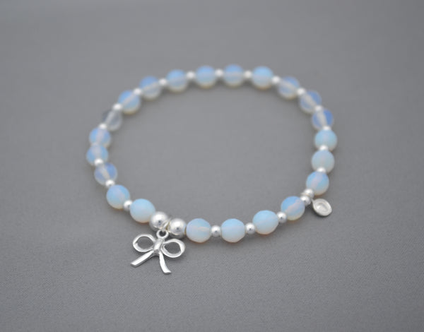 Handmade Moonstone and 925 Sterling Silver bead bracelet