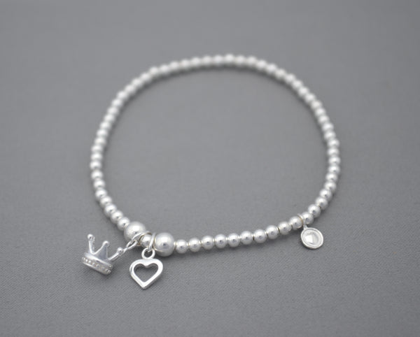 Sterling Silver 3mm bead bracelet with crown and heart charms
