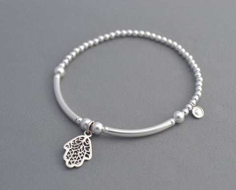 Handmade Sterling Silver noodle and bead bracelet with Hamsa hand charm