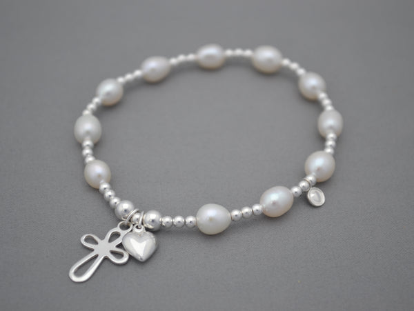 Freshwater Pearls and Sterling Silver handmade bead bracelet with 925 Sterling silver cross heart harms
