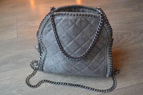 Quilted Chain detail shoulder small tote bag - Grey