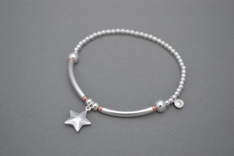 Sterling Silver mix bead half noodle bracelet with Rose Gold details and Sterling Silver puff star charm