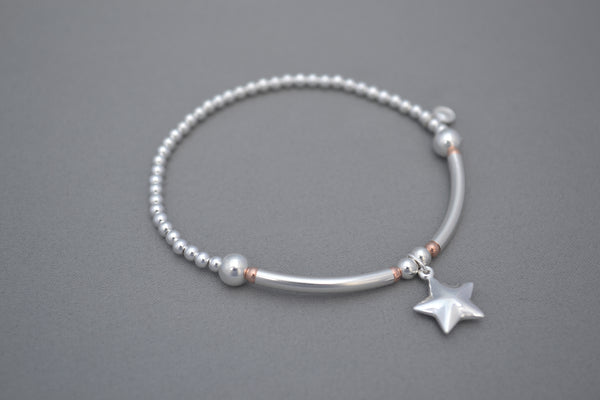 Sterling Silver half noodle and Rose Gold bead bracelet with puff star charm