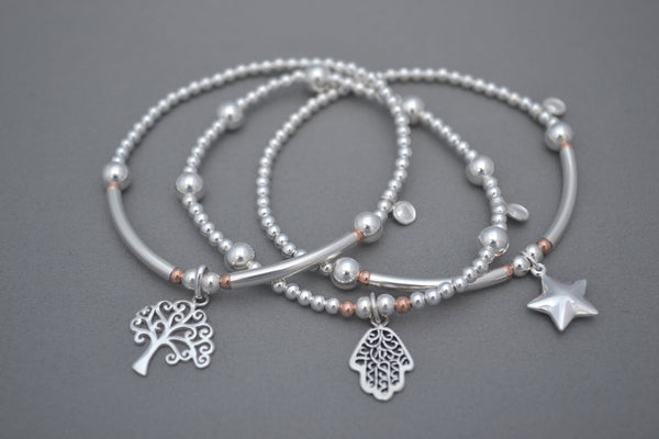 Limited Edition Sterling Silver Rose Gold mix bead and half noodle three bracelet stack with Sterling Silver charms