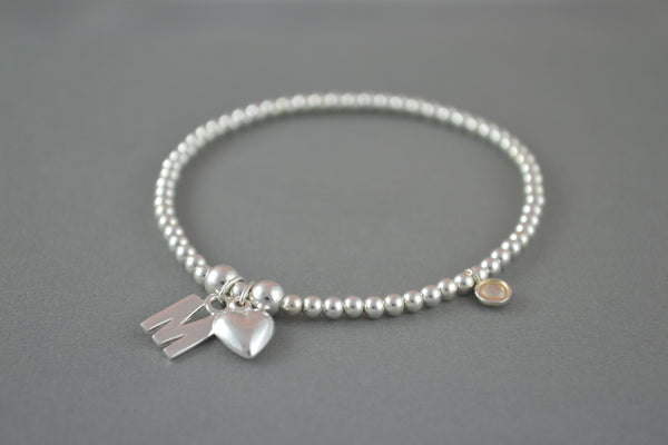 Sterling Silver ball bead bracelet with initial and puff heart charm